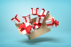 Free 3d Rendering Of Cardboard Box Flying In Air Full Of Gift Boxes On Light-blue Background. Stock Photo - 144202530
