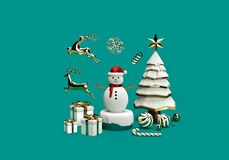 Free 3d Rendering Of Christmas Scene Or New Year Scene With Snowman, Gift Box, Reindeer, Candy Cane, Snowflakes, Christmas Tree And Royalty Free Stock Image - 185893806
