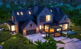 Free 3d Rendering Of Modern Clinker House On The Ponds With Pool In Night Stock Photos - 144580913