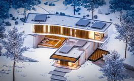 Free 3d Rendering Of Modern Clinker House On The Ponds With Pool In Winter Night Stock Photo - 160735810