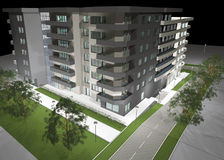 3D Rendering Of Modern Residential Building Stock Photos