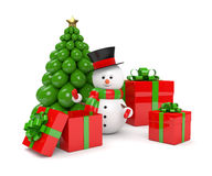 Free 3d Rendering Of Snowman With Presents Over White Stock Photography - 81079362