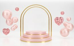 Free 3d Rendering Pink Podium Steps With Gold Gate Shape. Royalty Free Stock Image - 169283356