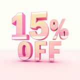 3D Rendering Pink and Yellow Color Percentage. Isolated on background -  15 percentage Royalty Free Stock Photo