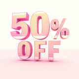 3D Rendering Pink and Yellow Color Percentage. Isolated on background - 50 percentage Stock Photography
