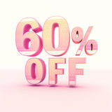 3D Rendering Pink and Yellow Color Percentage. Isolated on background - 60 percentage Stock Images