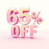 3D Rendering Pink and Yellow Color Percentage. Isolated on background - 65 percentage Royalty Free Stock Photography
