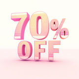 3D Rendering Pink and Yellow Color Percentage. Isolated on background - 70 percentage Royalty Free Stock Photo