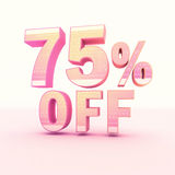 3D Rendering Pink and Yellow Color Percentage. Isolated on background - 75 percentage Stock Image