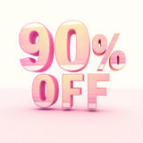 3D Rendering Pink and Yellow Color Percentage. Isolated on background - 90 percentage Stock Images