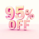 3D Rendering Pink and Yellow Color Percentage. Isolated on background - 95 percentage Stock Illustration