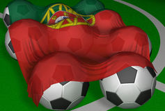 3D-rendering Portugal flag and soccer-balls. Competitor of World Championship Royalty Free Illustration