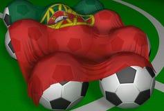 3D-rendering Portugal Markierungsfahne und Fußballkugeln Lizenzfreies Stockfoto