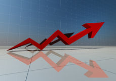 3d rendering of red arrow graph high.  Stock Images
