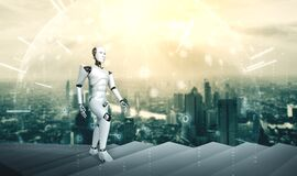 Free 3D Rendering Robot Humanoid Walk Up Stair To Success Royalty Free Stock Images - 194311139
