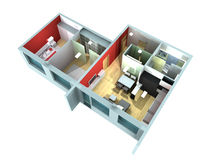 3D rendering of a roofless flat Stock Photo
