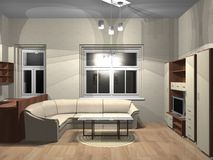 3d rendering of room. 3d render of small room with furniture and the TV Royalty Free Stock Images