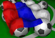 3D-rendering Russia flag and soccer-balls. Not competitor of mundial? but preferred author as citizen of this country Stock Photo
