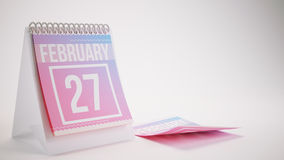 3D Rendering Trendy Colors Calendar on White Background - februa Royalty Free Stock Photography