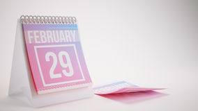 3D Rendering Trendy Colors Calendar on White Background - februa Stock Photos