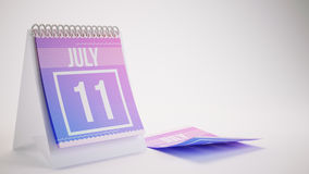 3D Rendering Trendy Colors Calendar on White Background - july 1. 1 Royalty Free Stock Photo