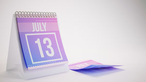 3D Rendering Trendy Colors Calendar on White Background - july 1. 3 Stock Photography
