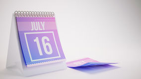 3D Rendering Trendy Colors Calendar on White Background - july 1 Royalty Free Stock Photography