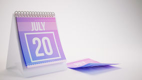 3D Rendering Trendy Colors Calendar on White Background - july 2. 0 Royalty Free Stock Images
