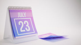 3D Rendering Trendy Colors Calendar on White Background - july 2. 3 Royalty Free Stock Photos