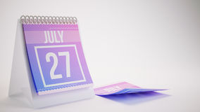 3D Rendering Trendy Colors Calendar on White Background - july 2 Stock Images