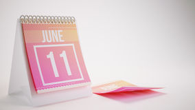 3D Rendering Trendy Colors Calendar on White Background - june 1. 1 Royalty Free Stock Images