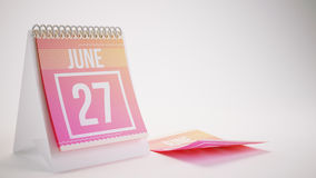 3D Rendering Trendy Colors Calendar on White Background - june 2. 7 Stock Image