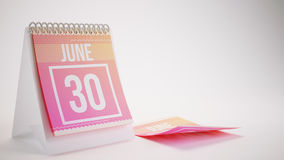 3D Rendering Trendy Colors Calendar on White Background - june 3. 0 Royalty Free Stock Images