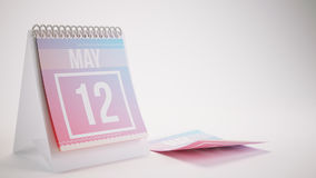 3D Rendering Trendy Colors Calendar on White - may 12 Royalty Free Stock Photo