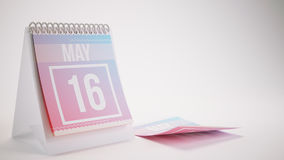 3D Rendering Trendy Colors Calendar on White - may 16 Royalty Free Stock Images