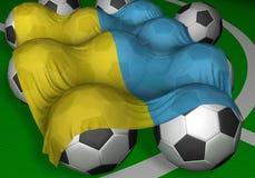 3D-rendering Ukraine Markierungsfahne und Fußballkugeln stockfotografie