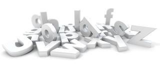 3D rendering of white letters of the alphabet in d Royalty Free Stock Image