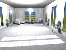 3D rendering of a white living room in a sunny day Royalty Free Stock Photo