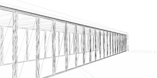 3D rendering wire-frame of building. Royalty Free Stock Photo