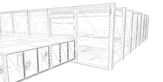 3D rendering wire-frame of building. White background Royalty Free Illustration