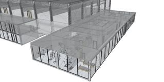 3D rendering wire-frame of building. Royalty Free Stock Photography