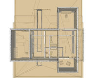 3D rendering wire-frame of building. site plan Royalty Free Stock Photo