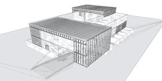 Free 3D Rendering Wire-frame Of Building. Royalty Free Stock Photography - 11811267