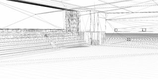 3D rendering wire-frame sports hall. Royalty Free Stock Photography