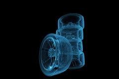 3D rendeu pneus azuis do raio X Imagens de Stock