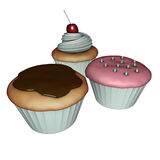3d rendono dei cup-cakes su bianco Illustrazione Vettoriale