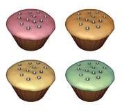 3d rendono del cup-cake su bianco Immagine Stock