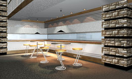 3D rendono dell'interiore moderno del ristorante Fotografia Stock