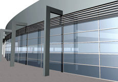 3D rendono di costruzione moderna, primo piano Fotografie Stock