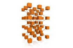 3D rendono i cubi con i collegamenti Immagine Stock